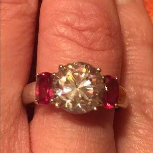 Jewelry - Strontium Titanate And Bixbite Silver Ring